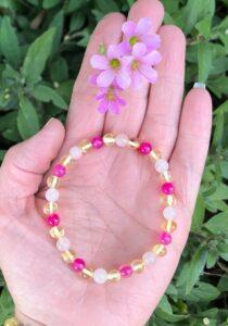 Adults Pink Agate, Rose Quartz & Lemon Baltic Amber Elastic Bracelet