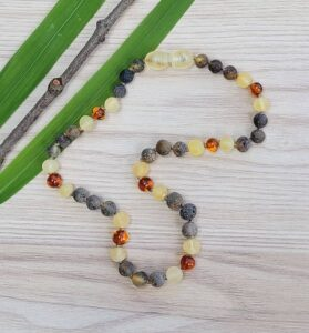 Unpolished Green, Lemon with Polished Cognac Baltic Amber 31.5cm Baby/Toddler Necklace