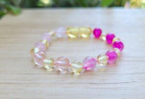 Lemon Baltic Amber Pink Rainbow Gemstone 14.5cm Baby/Toddler Anklet