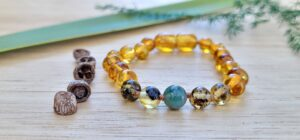 Honey & Green Baltic Amber with Moss Agate 14cm Baby/Toddler Anklet