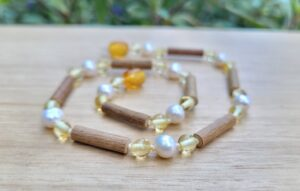 Fresh water pearls with Lemon Baltic Amber & Hazelwood 33cm Baby/Toddler Necklace
