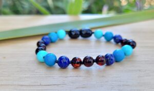 Cherry Baltic Amber with Lapis Lazuli & Blue Howlite Gemstones 16cm Baby/Toddler Anklet