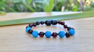 Cherry Baltic Amber with Howlite Gemstones 13.5cm Baby/Toddler Anklet