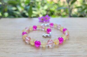 Unpolished Lemon Baltic Amber, Pink Agate & Cherry Quartz Gemstones Resizable Anklet