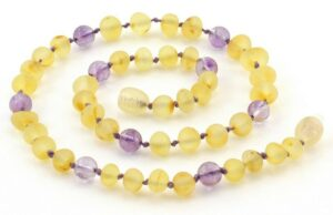Unpolished Baltic Amber with Amethyst Gemstones Teen/Adults 41cm Necklace
