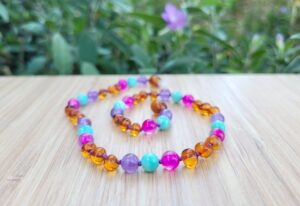 Cognac Baltic Amber with Amethyst, Amazonite & Pink Agate Gemstones 33cm Baby/Toddler Necklace