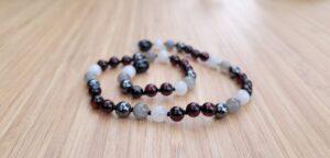 Cherry Baltic Amber with Hematite, Labradorite & Moonstone Gemstone 33cm Baby/Toddler Necklace