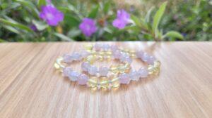 Lemon Baltic Amber, Amethyst & Blue Lace Agate Gemstones 30cm Baby/Toddler Necklace.