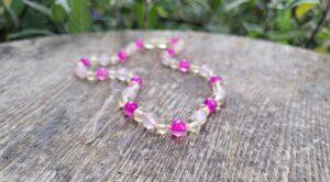 Lemon Baltic Amber, Pink Agate & Cherry Quartz Gemstones 32cm Baby/Toddler Necklace