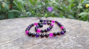 Cherry Baltic Amber with Pink Agate and Amethyst Gemstones 32cm Baby Necklace