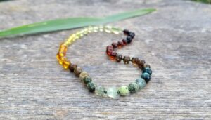 Rainbow Baltic Amber with Natural Rainbow Gemstones 31cm Baby/Toddler Necklace.