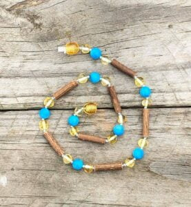 Hazelwood, Lemon Baltic Amber with Howlite 31cm Baby/Toddler Necklace