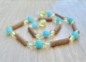 Hazelwood, Amazonite with Lemon Baltic Amber 32.5cm Baby/Toddler Necklace