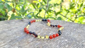 Red Agate Gemstone with Yellow & Cherry Baltic Amber Tri-Colour 30cm Baby/Toddler Necklace