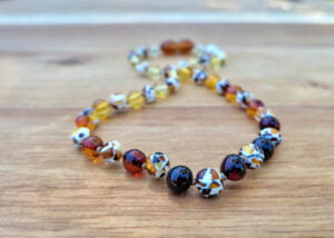 Baroque Rainbow Baltic Amber & Mosaic Baltic Amber Baby/Toddler Necklace