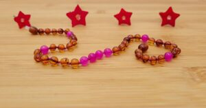 Cognac Baltic Amber with Pink Agate Gemstones